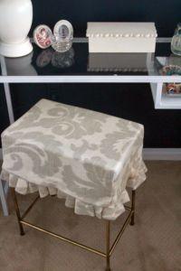 easy DIY kirted vanity stool