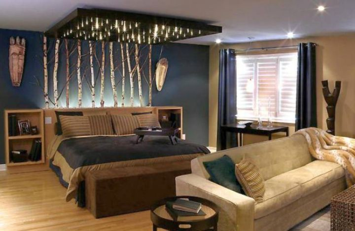 bachelor bedroom decorating ideas with unique canopy