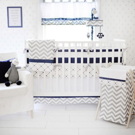 gray and navy stripe baby bumper pads out of the blue collection