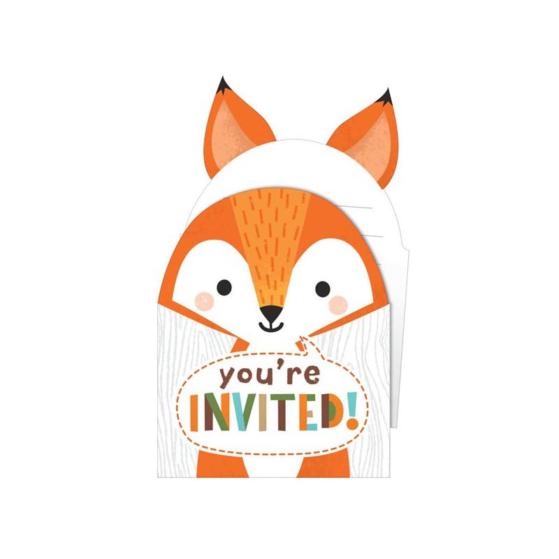 cartes d invitation forme de renard anniversaire a theme enfant