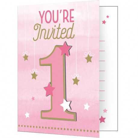 cartes d invitation et enveloppes 1 un etoiles rose et dore pour fete