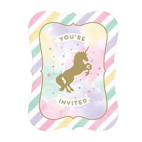 8 cartes invitation invite theme anniversaire licorne doree et pastel