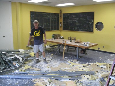 Tearing down the conference room at The Lost Abbey