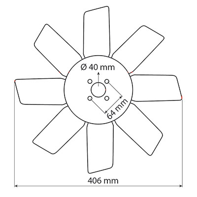 Paleta ventilator motor Perkins 30/145-9, 001651U91