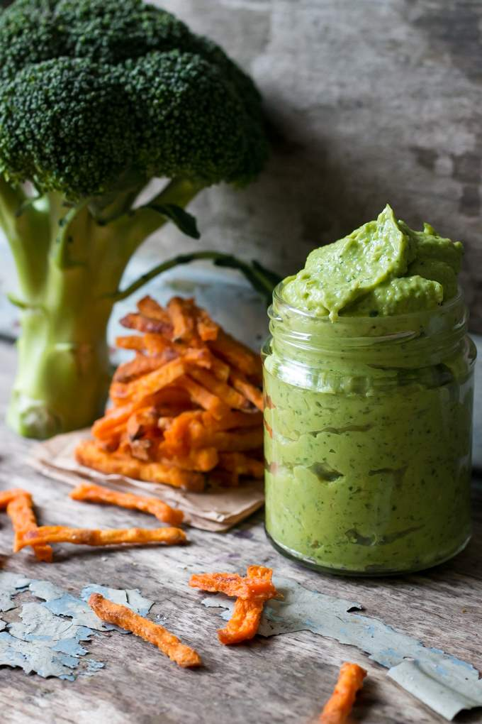 Crispy sweet potato fries with avocado dip