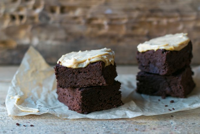 FUDGY EGGPLANT BROWNIES WITH PEANUT BUTTER FROSTING