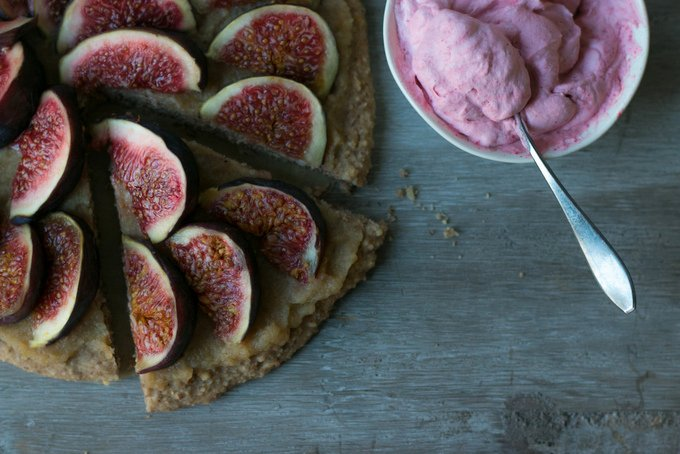 Fig pizza pie with pink whipped coconut cream 5