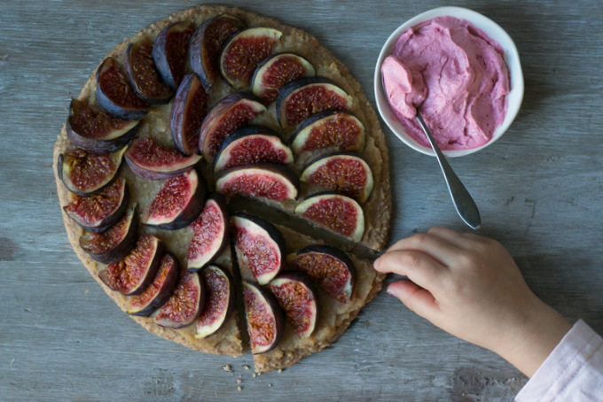 Fig pizza pie with pink whipped coconut cream 1