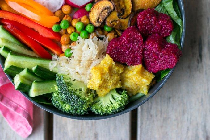 Nourishing Buddha Bowl with crispy tofu and rainbow vegetables