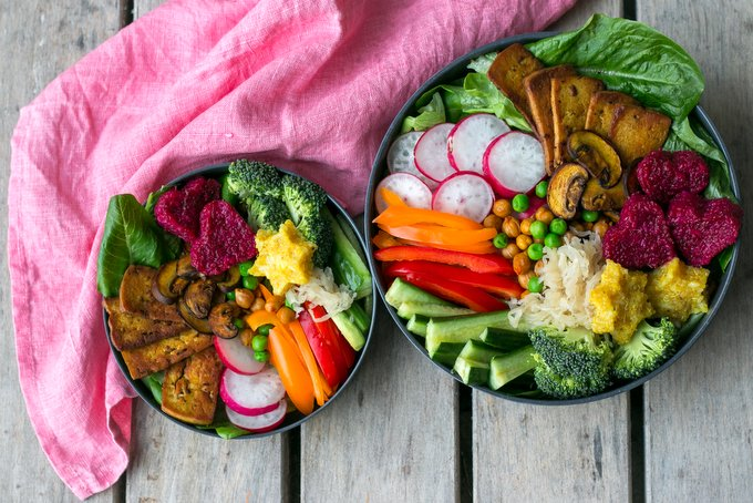 Nourishing buddha bowl with crispy tofu and rainbow vegetables
