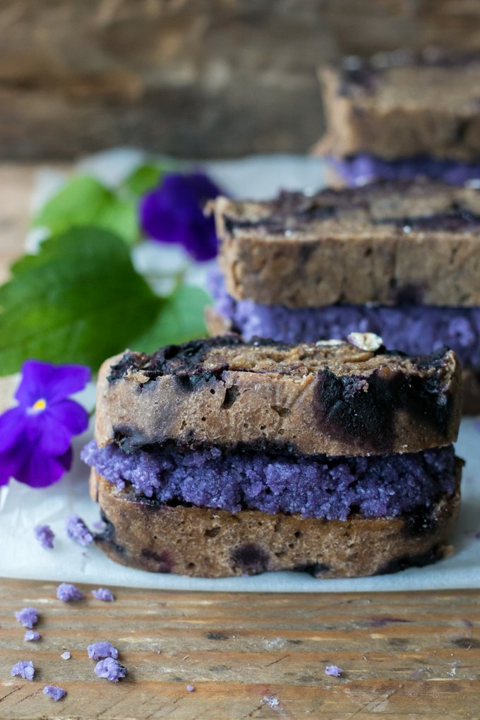 Blueberry banana bread with blueberry coconut butter. Vegan, gluten free, myberryforest.com