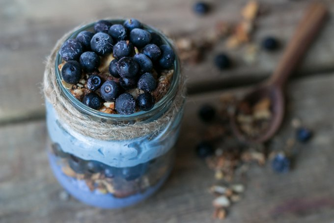 Blueberry chia parfait with tahini granola. Vegan, gluten free, myberryforest.com