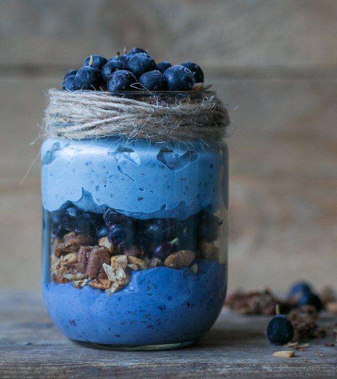 Blueberry chia parfait with tahini granola