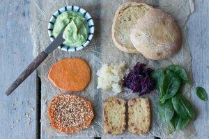 Tofu veggie burger and banana chocolate shake. Vegan, gluten free, myberryforest.com