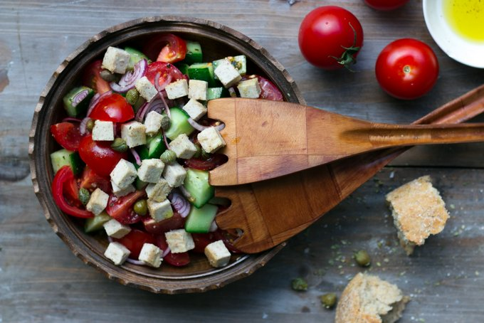 Greek salad with vegan feta cheese. Vegan. gluten-free, myberryforest.com
