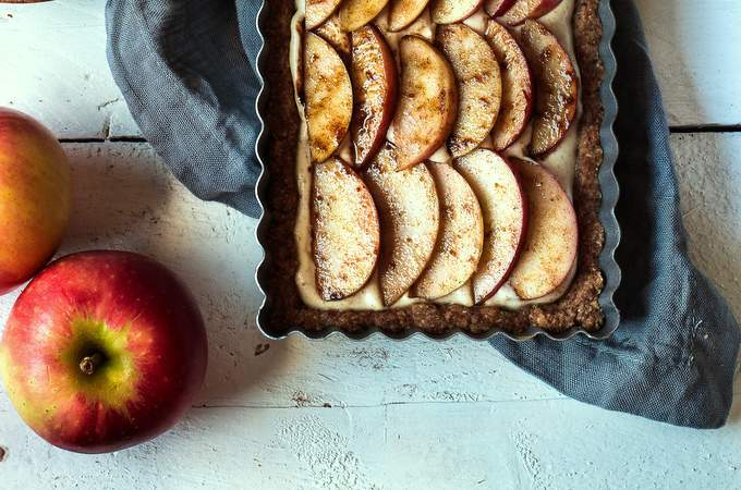 Vegan Gluten-free Apple Cheesecake Tart. Myberryforest.com