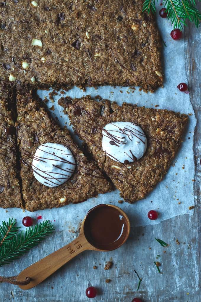 Vegan gluten-free Christmas Chocolate Chip Pizza. Myberryforest.com