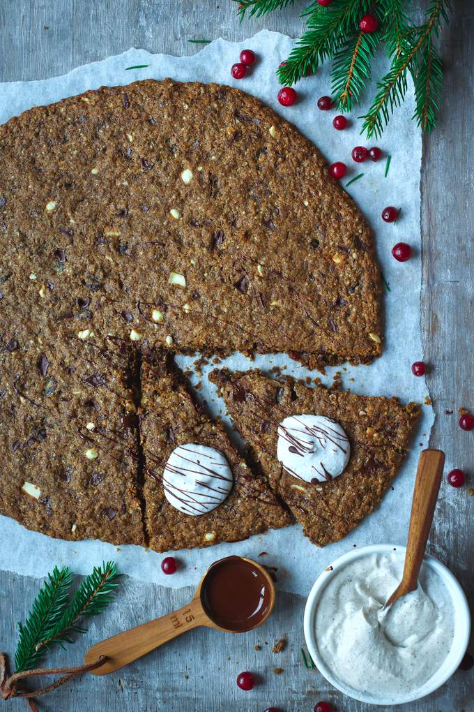 Vegan gluten-free Christmas Chocolate Chip Pizza. Myberryforest.com