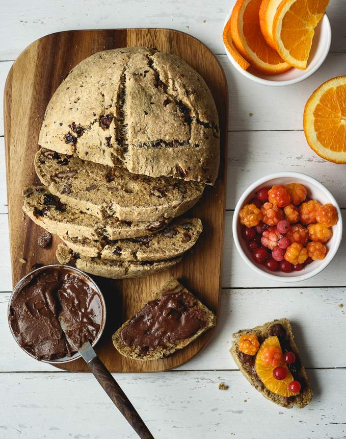 Vegan Gluten-free Fruit and Nut Bread with Chocolate Butter. Myberryforest.com