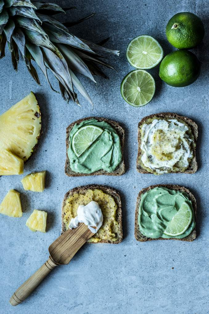 Key Lime Pie & Piña Colada toasts. Vegan, gluten-free, myberryforest.com