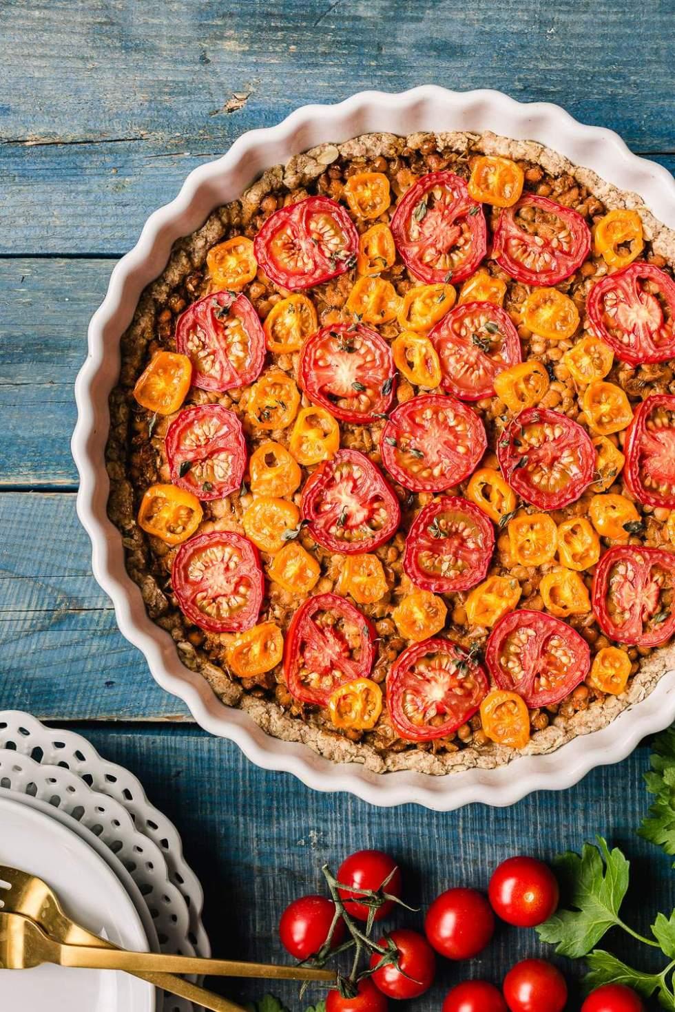 Vegan lentil tomato tart