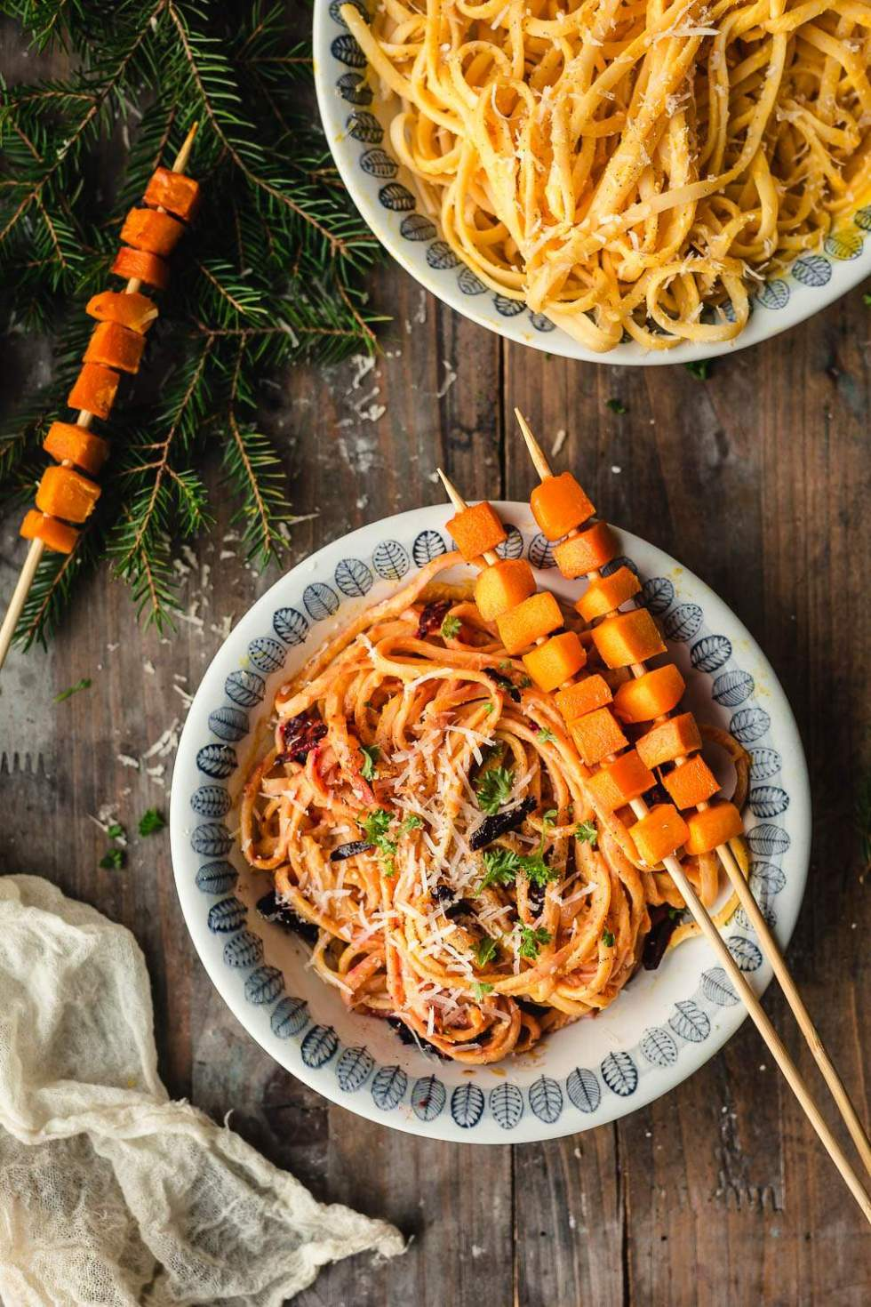 Vegan butternut squash carbonara with beet bacon