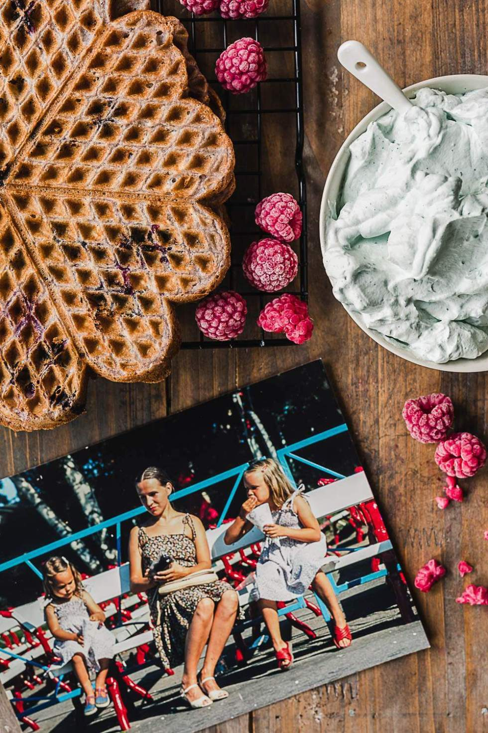 Blueberry cardamom waffles
