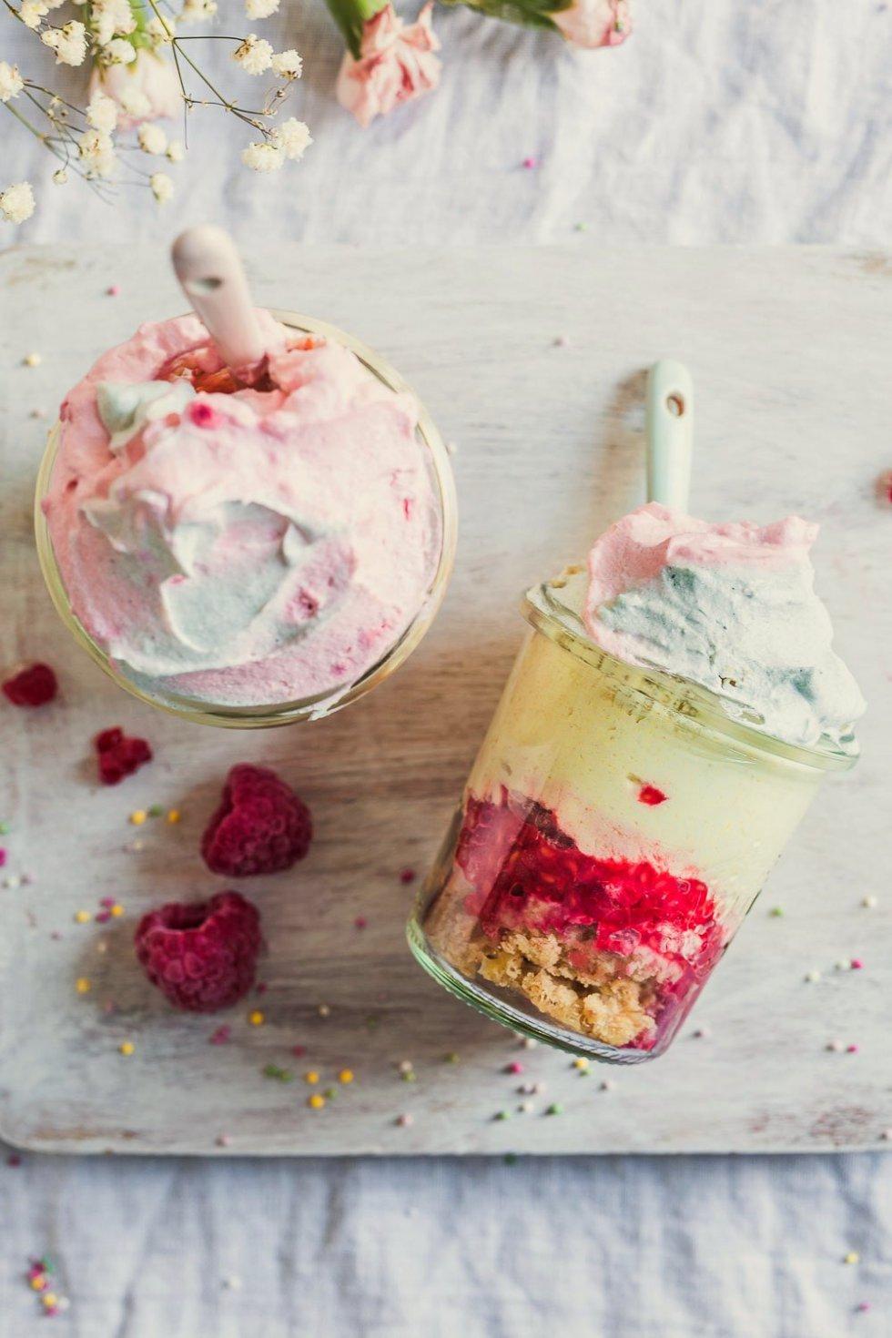 Creamy vegan cheesecakes in jar