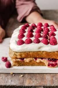 Vegan Peanut butter and jelly vanilla cream cake