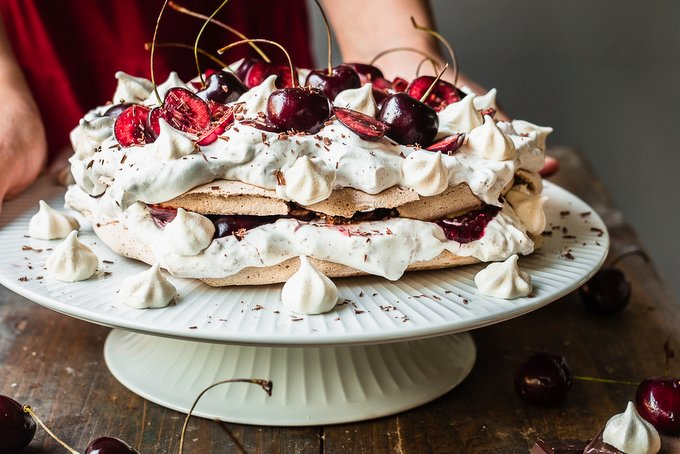 Vegan black forest pavlova meringue cake