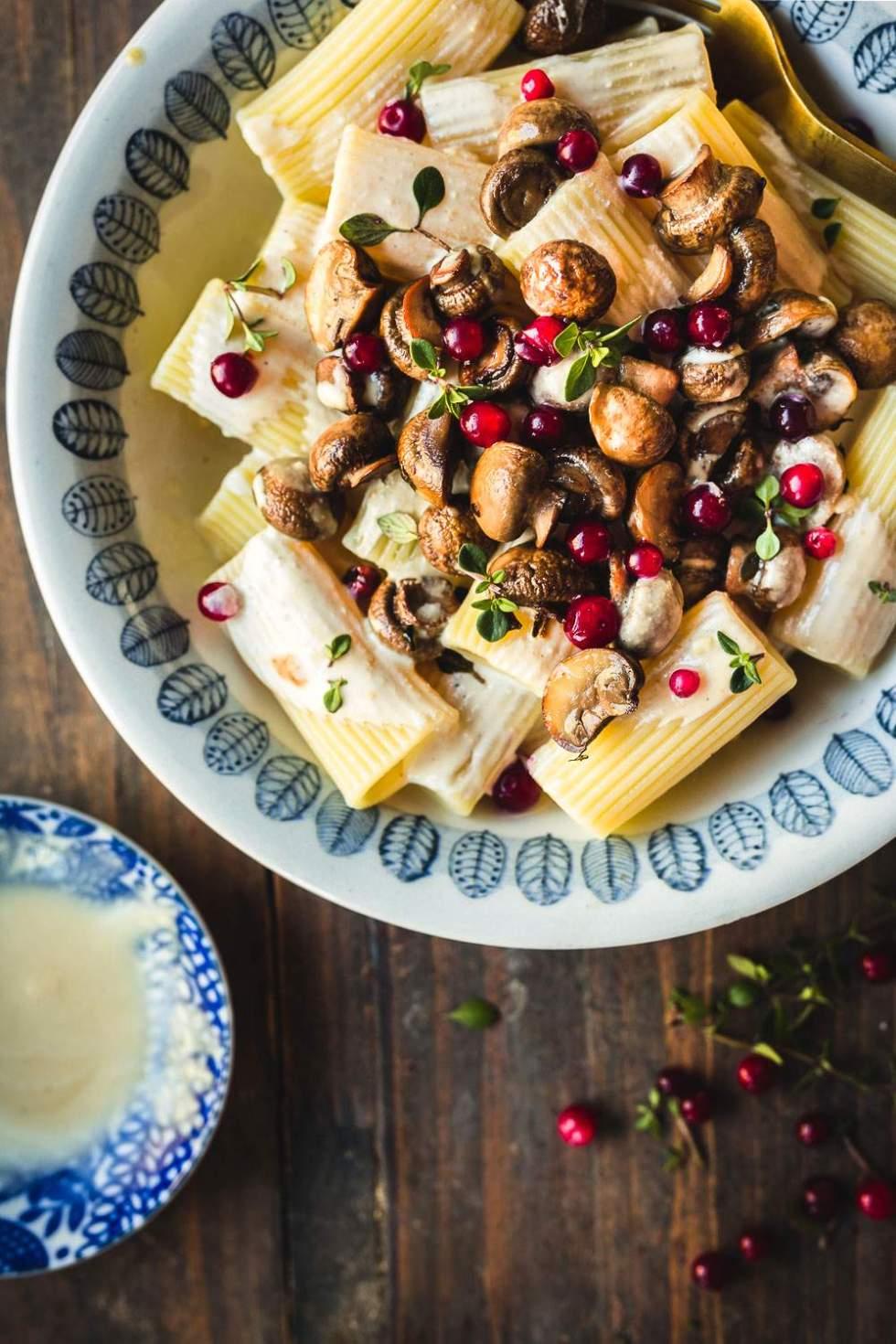 Miso tahini pasta with roasted mushrooms