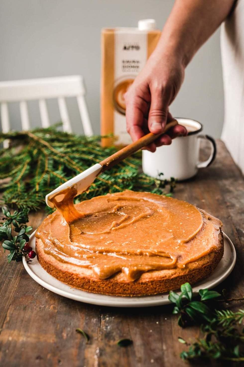 Cardamom cake with caramel frosting (gluten-free, vegan)