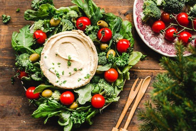 Vegan holiday wreath platter