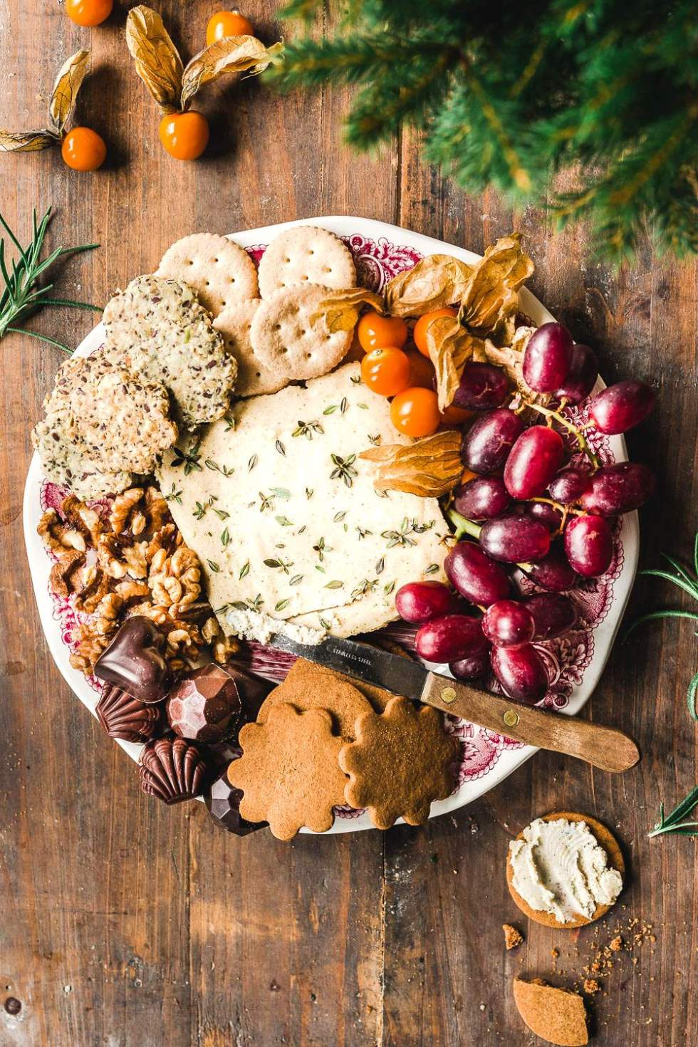 Vegan holiday wreath platter