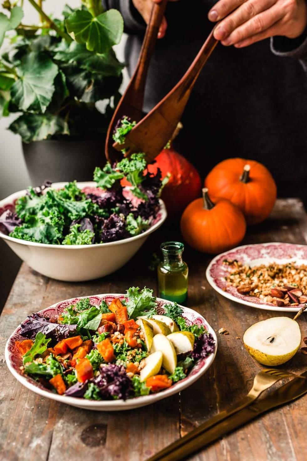 Vegan kale salad with pumpkin and parmesan