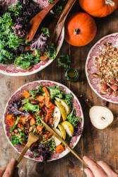 Vegan kale salad with pumpkin and parmesan