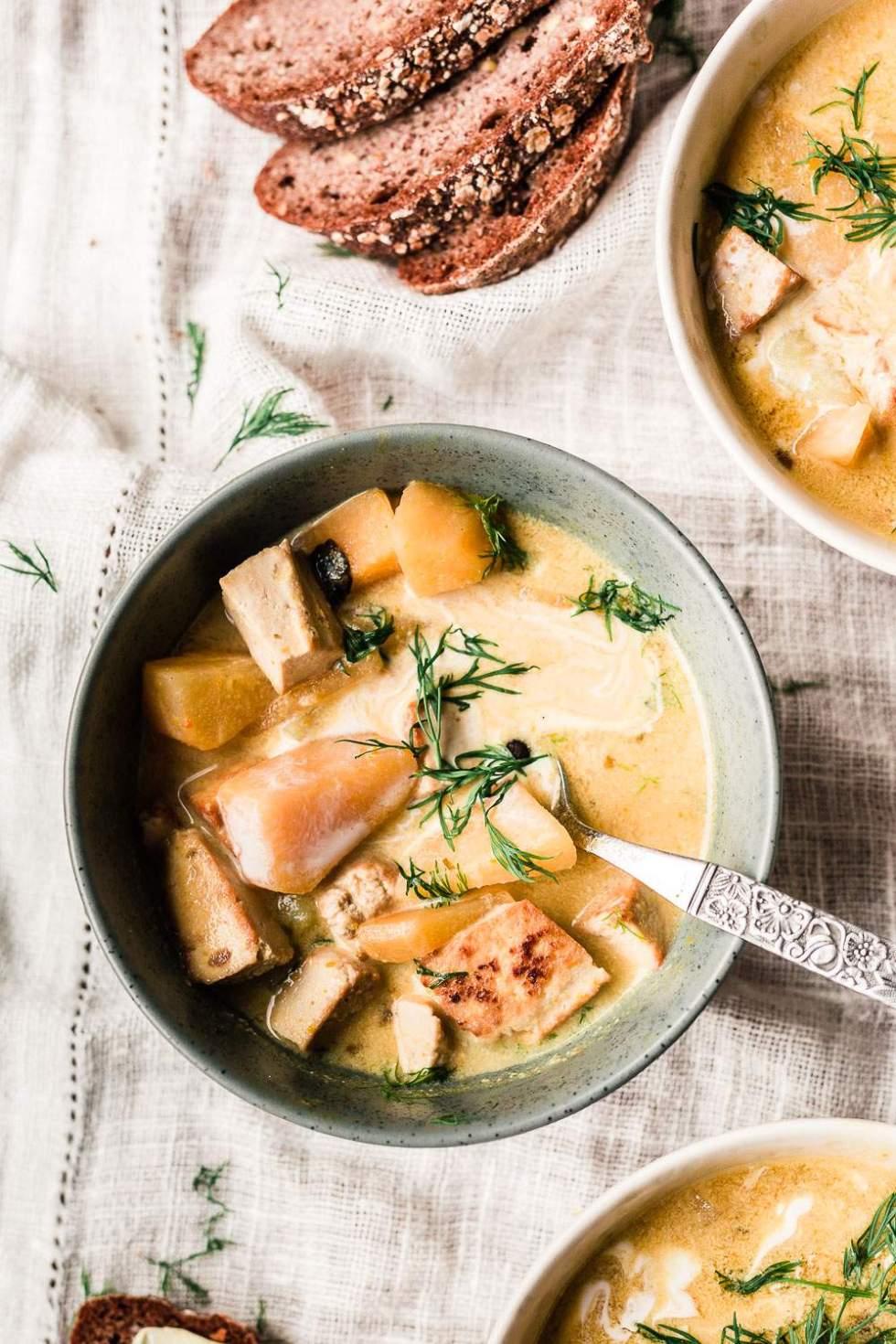 Creamy vegan salmon soup