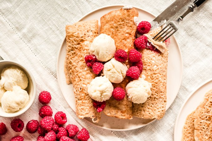 Gluten-free vegan crepes with raspberry cream