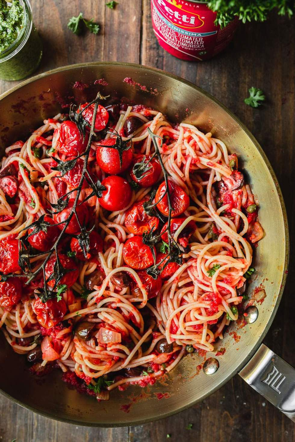 Vegan pasta puttanesca with parsley pesto