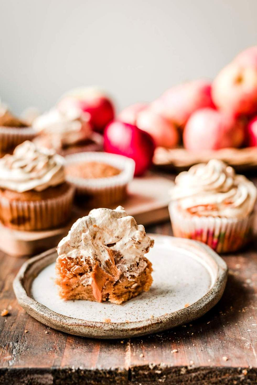 Applesauce Cupcakes with Biscoff Frosting
