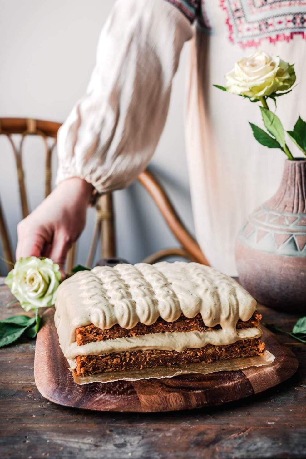 Vegan Banana Cake with Peanut Butter Mousse