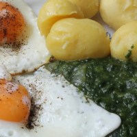 Spinach Potatoes Fried Egg Dish