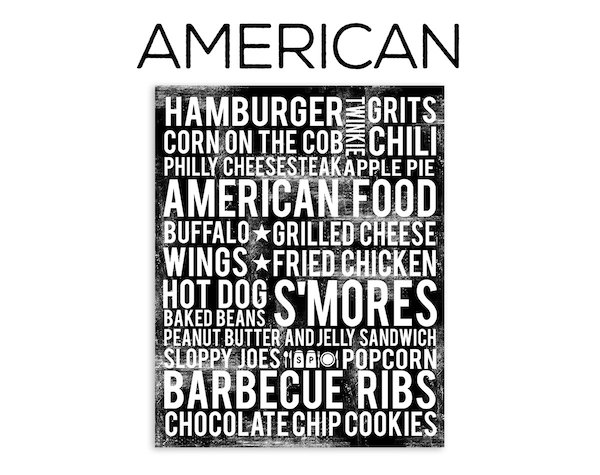 American food poster in subway art style