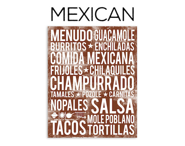 Mexican food poster in subway art style