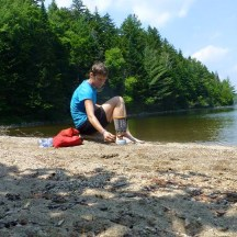 Cooking lunch on the beach at Crawford Pond