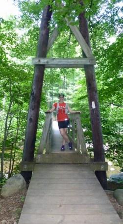 Tye River suspension bridge — with Laura Pound.