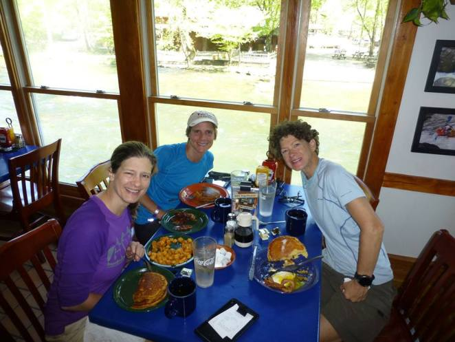 Yummy breakfast to celebrate the end to our fun weekend. — with Laura Pound and Martha Johnson at Rivers End Restaurant On The Nantahala River.