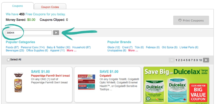 How to Change Zip Code for Coupons.com