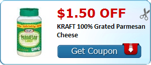 $1.50 off KRAFT 100% Grated Parmesan Cheese