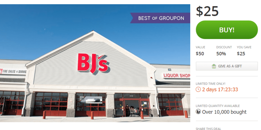 For a limited time you can grab a BJ's Year Membership from Groupon for only $25 PLUS get a $25 Gift card. This is a great deal.